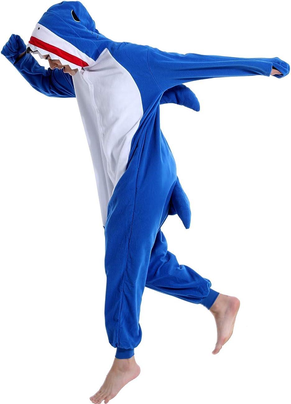Shark Costume Adult Onesies Women Animal Plush Cosplay Costume Novelty One Piece Pyjamas