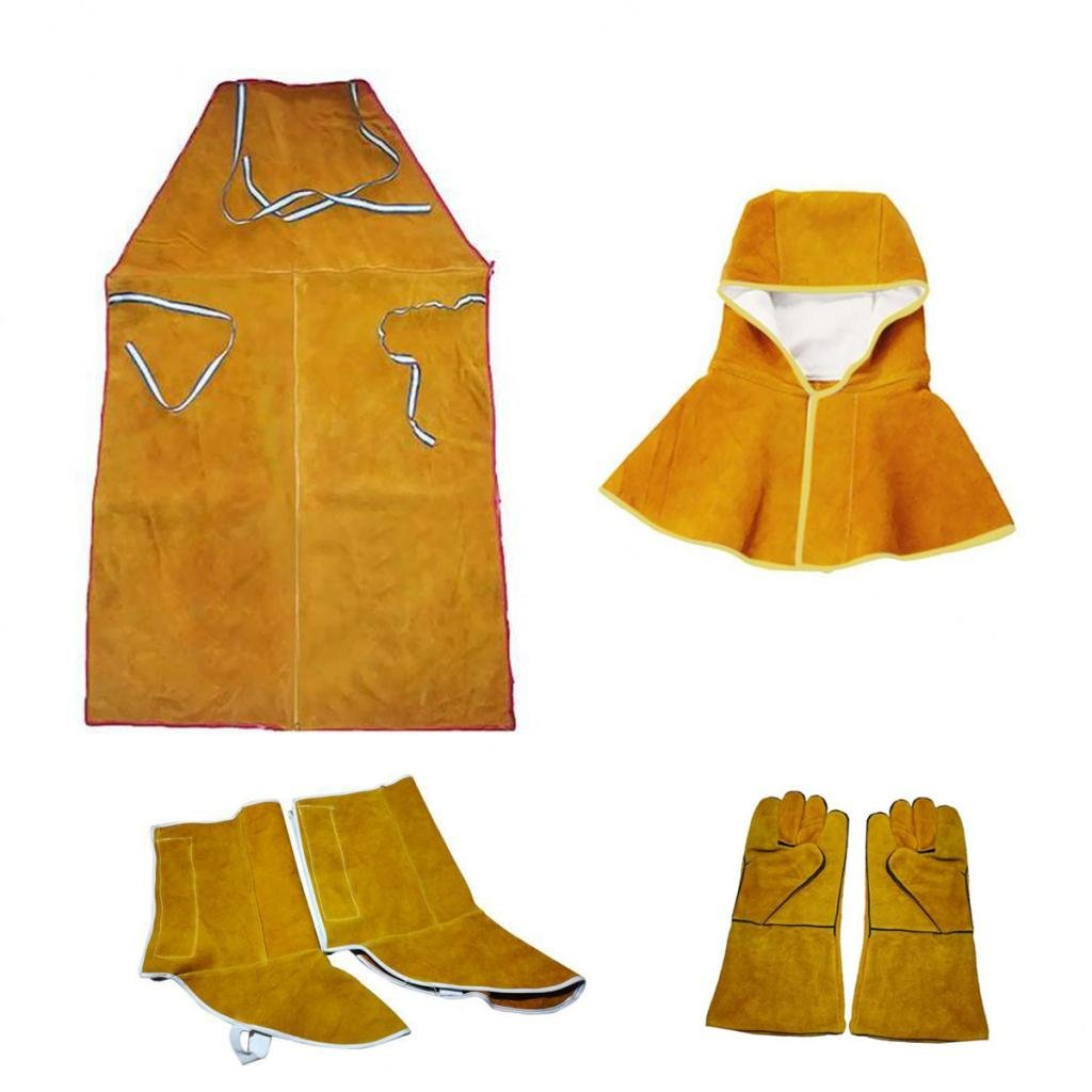 Dovewill Orange Welder Apron Hood Gloves Shoes Cover Protective Gear Flame Resistant