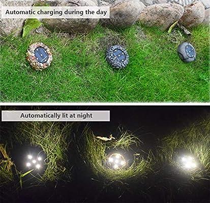 Resina Solar Luz enterrada 5 LED simulación Luz de Piedra Jardín Exterior Jardín Luz enterrada para jardín - Luz cálida: Amazon.es: Hogar