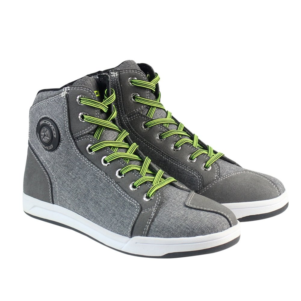 IRON JIA'S Motorcycle Shoes Men Streetbike Casual Accessories Breathable Protective Gear Powersport Anti-Slip Footwear 9.5 Gray