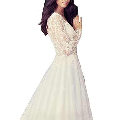 Shushaliying Womens Lace Long Sleeves Bridal Gown Sexy V Neck Halter Wedding Dress Prom Dress Ivory