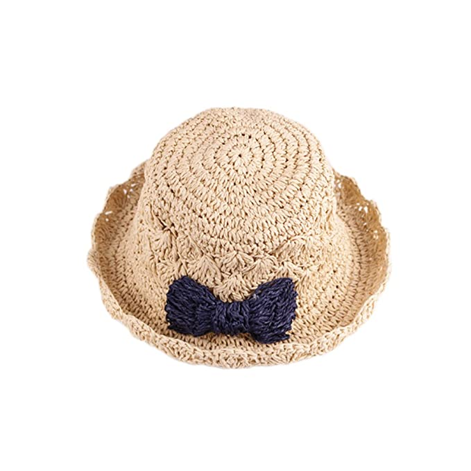 hefeilzmy Summer Kid Girls Sun Hat with Bow-Knot Straw Hat Foldable Hat
