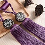 KISENG 1 Pair Beaded Tassels Curtain Tiebacks Rope Holdbacks for Bedroom (Purple)