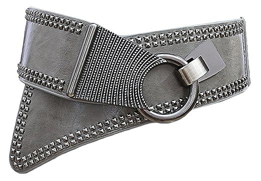 Bevalsa Large ceinture élastique en stretch pour femme Cool Ceinture Punk à  Taille Large Obi Élastique b7c5466ddd5