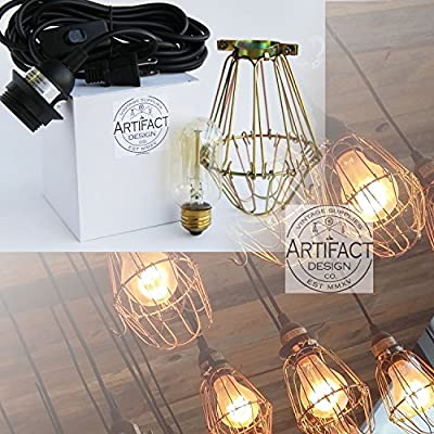 Industrial Style Vintage Pendant Light Fixture Set with Brass Metal Wire Cage , 15' Toggle Switch Plug-in Cord and Radio Style Edison Bulb , Adjustable Cage Openings to Different Styles ...