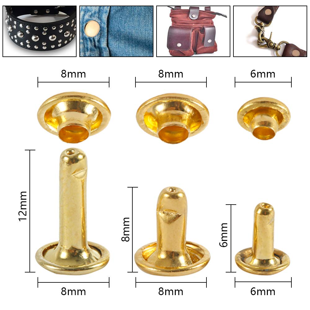 Black Silver 480 Set Leather Rivets Double Cap Rivets Tubular Metal Studs 3 Sizes 4 Color with 3 Fixing Tool for DIY Leather Craft Rivets Replacement Gold Bronze