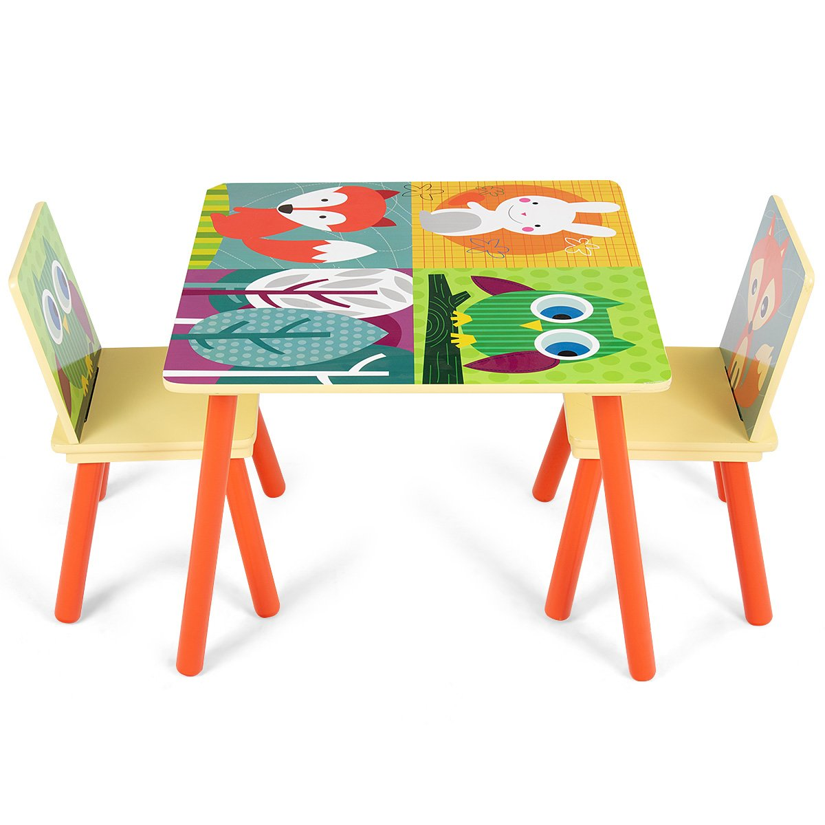 CASART Kids Furniture Set with Multifunction Table + 2 Chairs, Harmless P2 MDF Material, Colorful Cartoon Animal Pattern, Smooth Surface, Round Corners for Reading, Eating, Playing, Writing