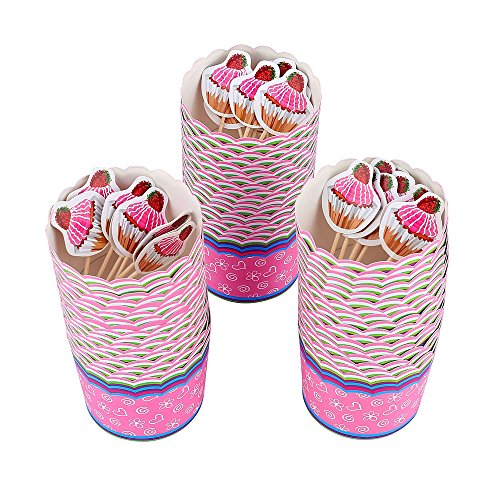 Crystallove 50pcs Standard Size 2.5 Inch Paper Cupcake Liners Baking Cups with 24pcs Cupcake Toppers