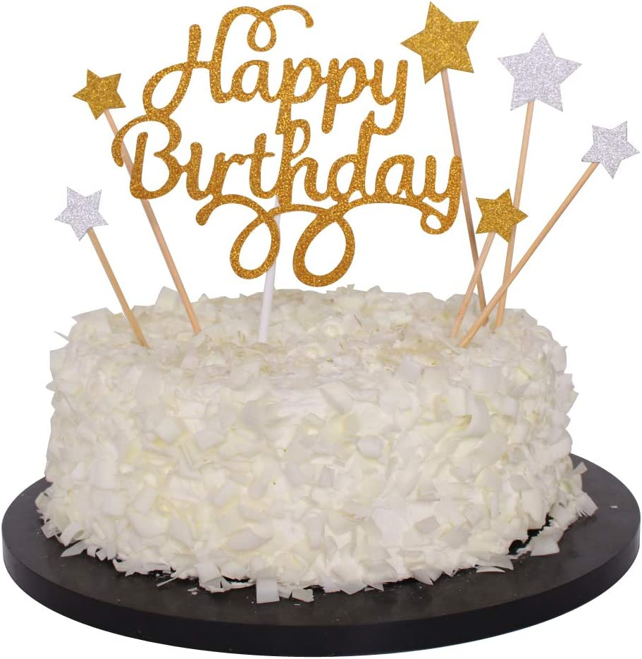 Phenomenal Amazon Com Sunny Zx 7Pack Gold Glitter Happy Birthday Cake Funny Birthday Cards Online Barepcheapnameinfo