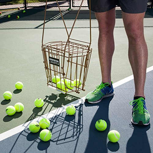 Gamma Sports Ballhopper Premium Pro 75 HiRise Gold Tennis Ball Pickup – Professional & Heavy Duty Floating Wire Design, Weather-resistant Durable Coating, Hinged Lid to Prevent Spilling, Convenient Handles, Holds 75 Balls