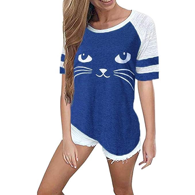 Luckycat Blusa Camiseta de Patchwork Cuello Redondo para Mujer Tops Primavera Verano Camisa Blusa de Gato Impresión: Amazon.es: Ropa y accesorios