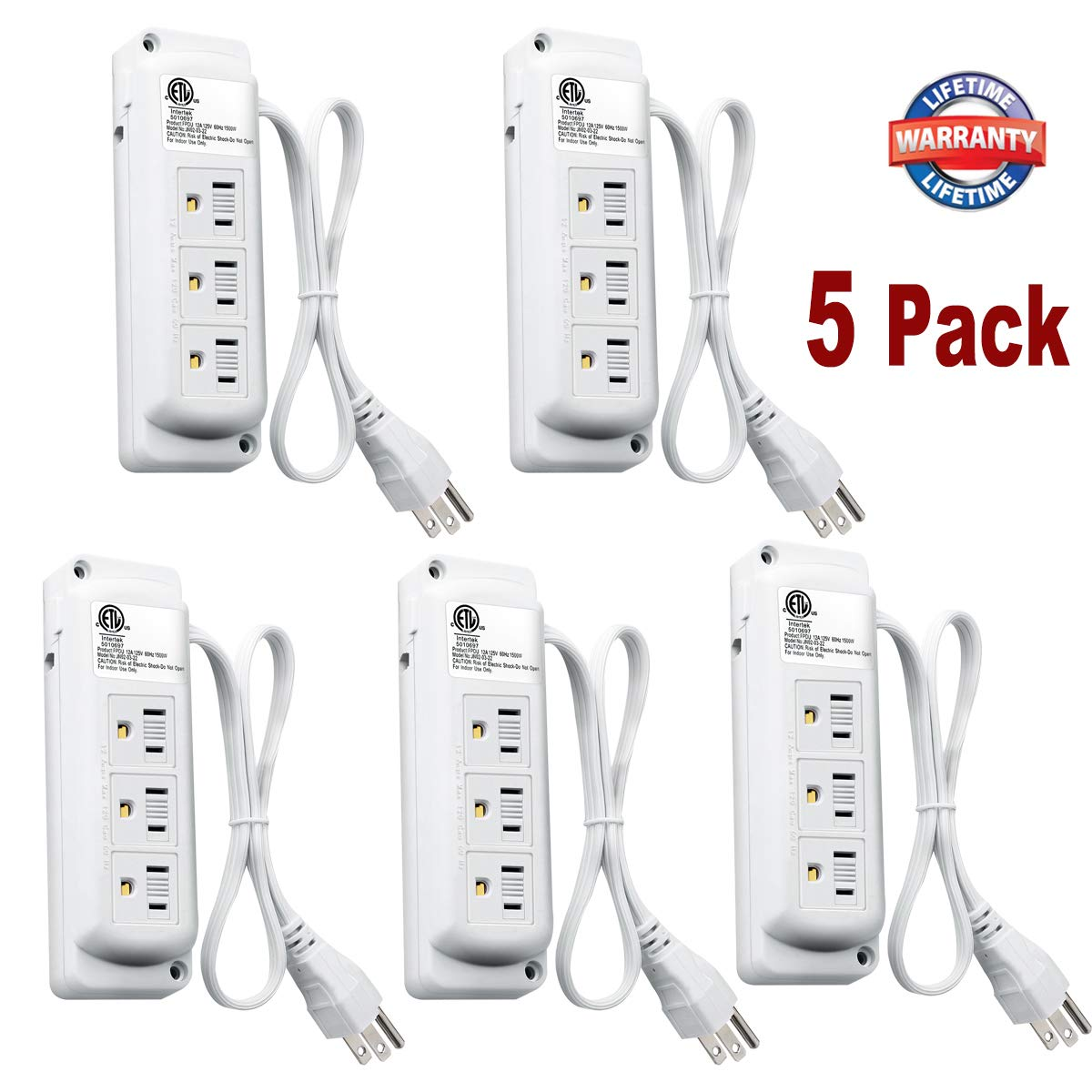 3-Outlets Power Strip with Safety Cover - (5 Pack),1500 W Grounded Wall Socket with Extension Cord and 3-Prong Plug,ETL Listed - White