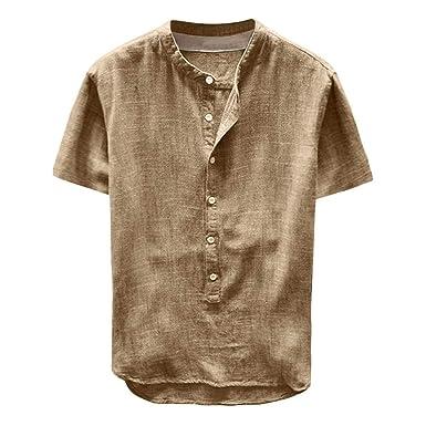 on sale 6a425 b89f6 ZEZKT Herren-Hemden Leinenhemd Herren Kurzarm Henley Shirt Männer Einfarbig  Freizeithemd Übergröße Loose Fit Sommer Casual Hemden Leichte ...