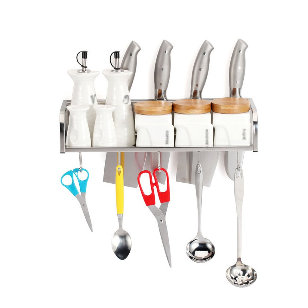 Kitchen stainless steel multi-function knife holder wall hanging single-layer rack storage seasoning rack with hook (Size : XL) by AD