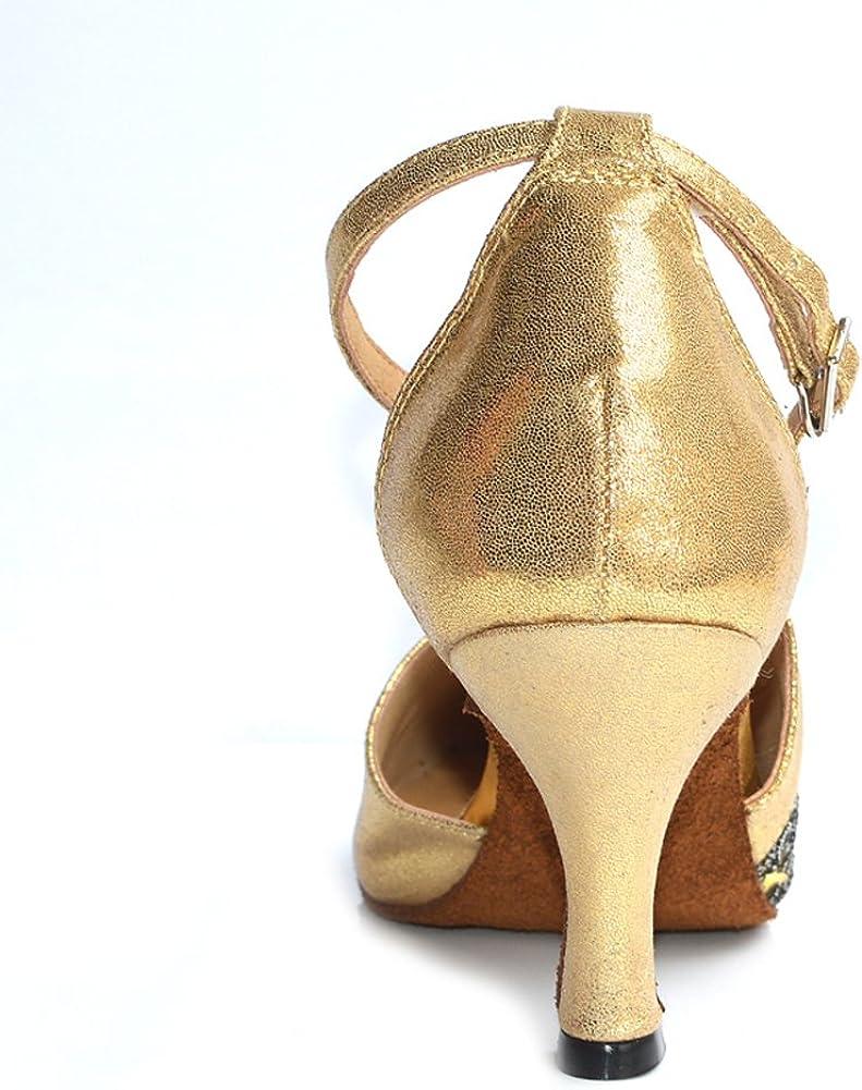 Misu Womens Closed Toe Suede Sole Latin Salsa Tango Practice Ballroom Dance Shoes with 2.75 Heel