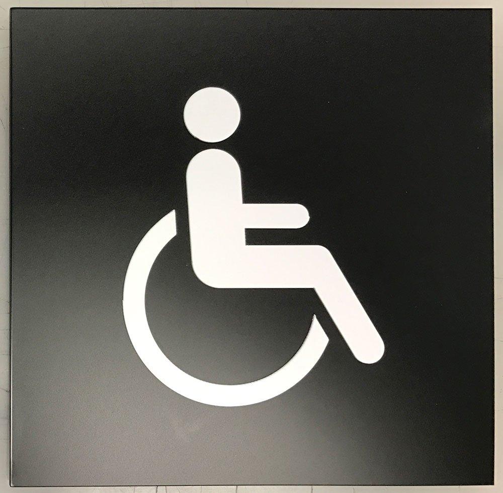 Handicap Access Symbol Sign 6'' x 6'' (Black/White)