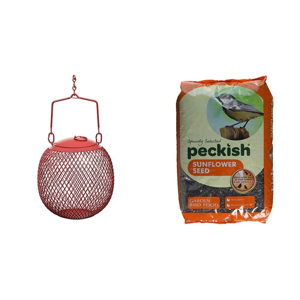 Opus [Perky-Pet] Metal Seed Ball Wild Bird Feeder, Small Hanging Seed Feeder for the Garden, Holds 0.5 kg of Sunflower Seed #RSB00343