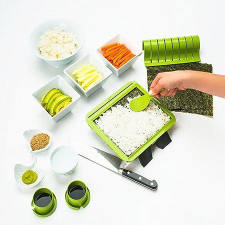rojo herramienta de pl/ástico para hacer sushi Kit para hacer sushi principiantes f/ácil de usar 10 piezas completo con 8 moldes de rollo de arroz de sushi para cocina