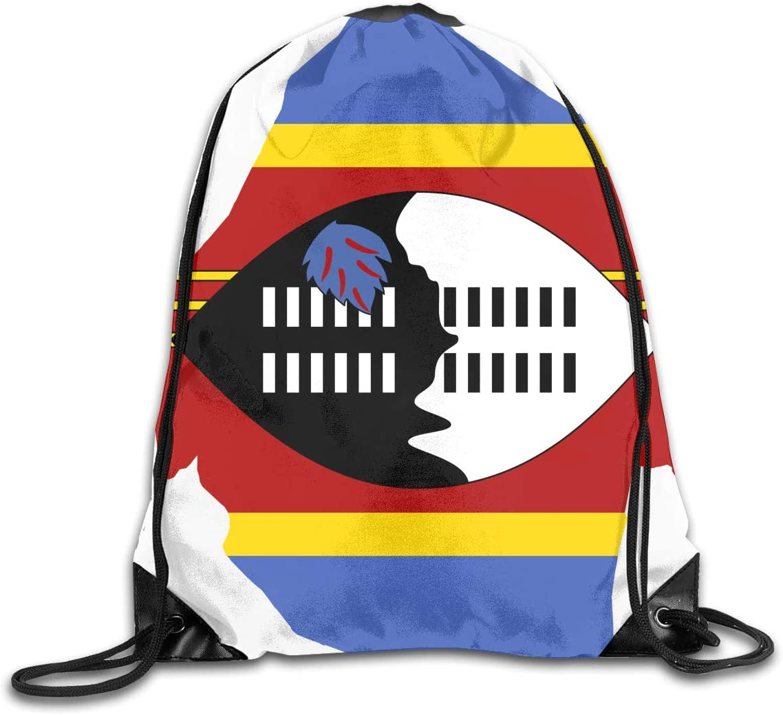 CoolStuff Travel Shoe Bags,Large Flag Map of Swaziland Drawstring Backpack Hiking Climbing Gym Bag,Large Big Durable Reusable Polyester Footwear Protection