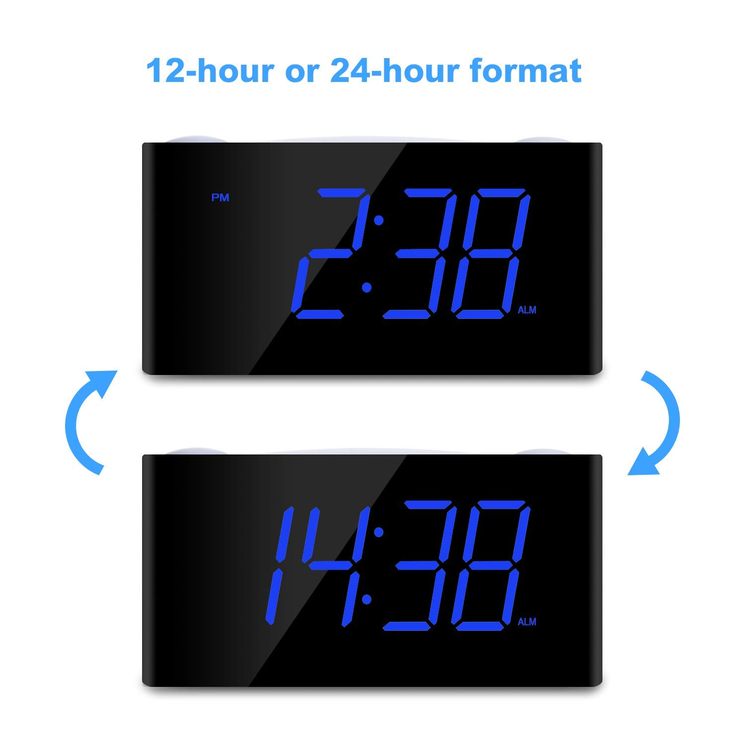 Digital Alarm Clock - Raynic Desk Clock with Loud Alarm, Large Numbers, Snooze, Dual USB Charging Ports, Brightness Dimmer, 12/24 Hours, Nightlight for Bedrooms, Kids, Heavy Sleepers, Home, Blue