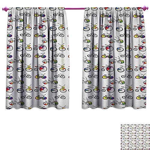 homefeel Bicycle Waterproof Window Curtain Hand Drawn Penny-Farthing Tandem and City Bikes with Colored Rims Cartoon Style Patterned Drape for Glass Door W55 x L45 Multicolor ()