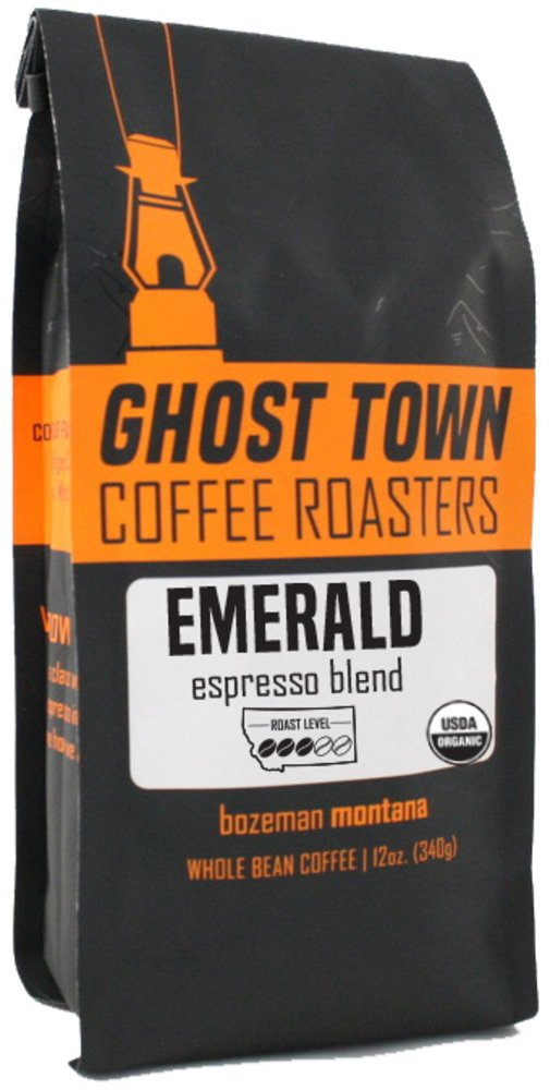 "Ghost Town Coffee Roasters ""Emerald Espresso"" Medium Roasted Organic Whole Bean Coffee - 5 Pound Bag"
