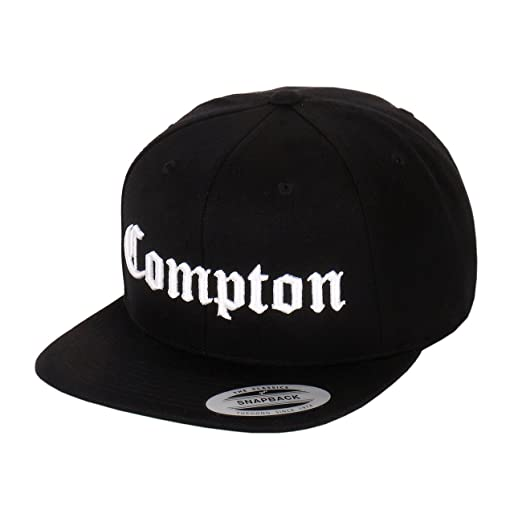 cd21774da38 Compton Embroidery Flat Bill Adjustable Yupoong Cap by Flexfit (More  Colors) (Black)