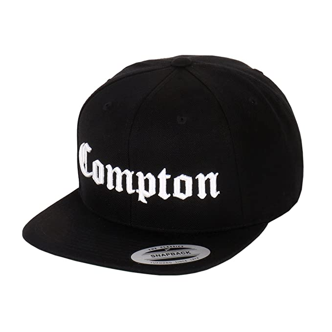 65138098 Compton Embroidery Flat Bill Adjustable Yupoong Cap by Flexfit (More  Colors) (Black)
