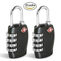 TSA Luggage Locks, Combination Lock [2 Pack] CFMOUR 4-Dial Combination Security Padlocks for Travel Lock Suitcases Case Bag Code Lock - Black