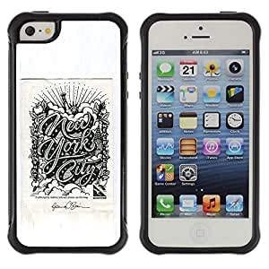 Be-Star único patrón Impacto Shock - Absorción y Anti-Arañazos Funda Carcasa Case Bumper Para Apple iPhone 5C ( Chrysler New York City Poster Grey )