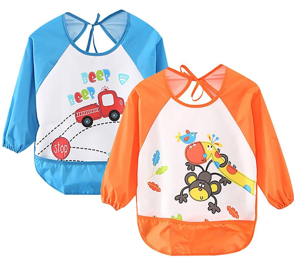 Leyaron 2 Pack Unisex Infant Toddler Baby Waterproof Sleeved Bib, 6 Months-3 Years, Blue Car and Orange Monkey B018VJ5AZG