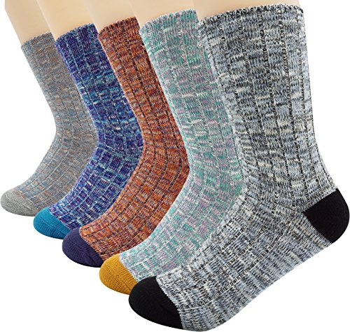 Bienvenu Women's Lady's 5 Pack Vintage Style Cotton Crew Socks