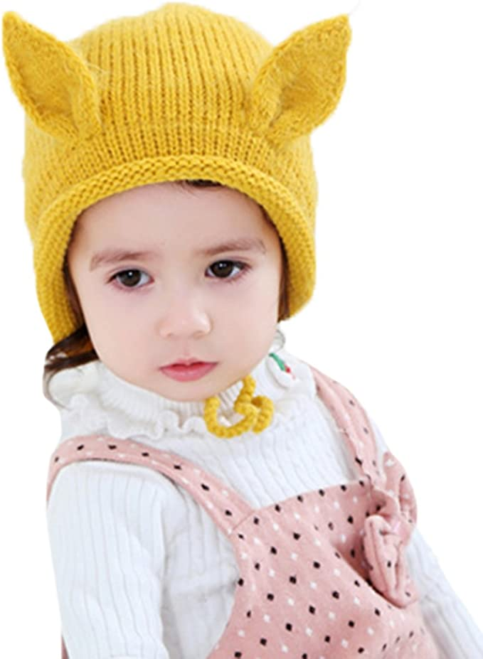 ZZLAY Baby Beanie Hat Soft Warm Knit Wool Cute Fleece Lined Warm Caps with Ear