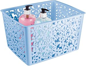 mDesign Plastic Bathroom Storage Basket Bin for Organizing Hand Soaps, Body Wash, Shampoos, Lotion, Conditioners, Hand Towels, Hair Accessories, Body Spray - Large, Floral Design - Light Blue