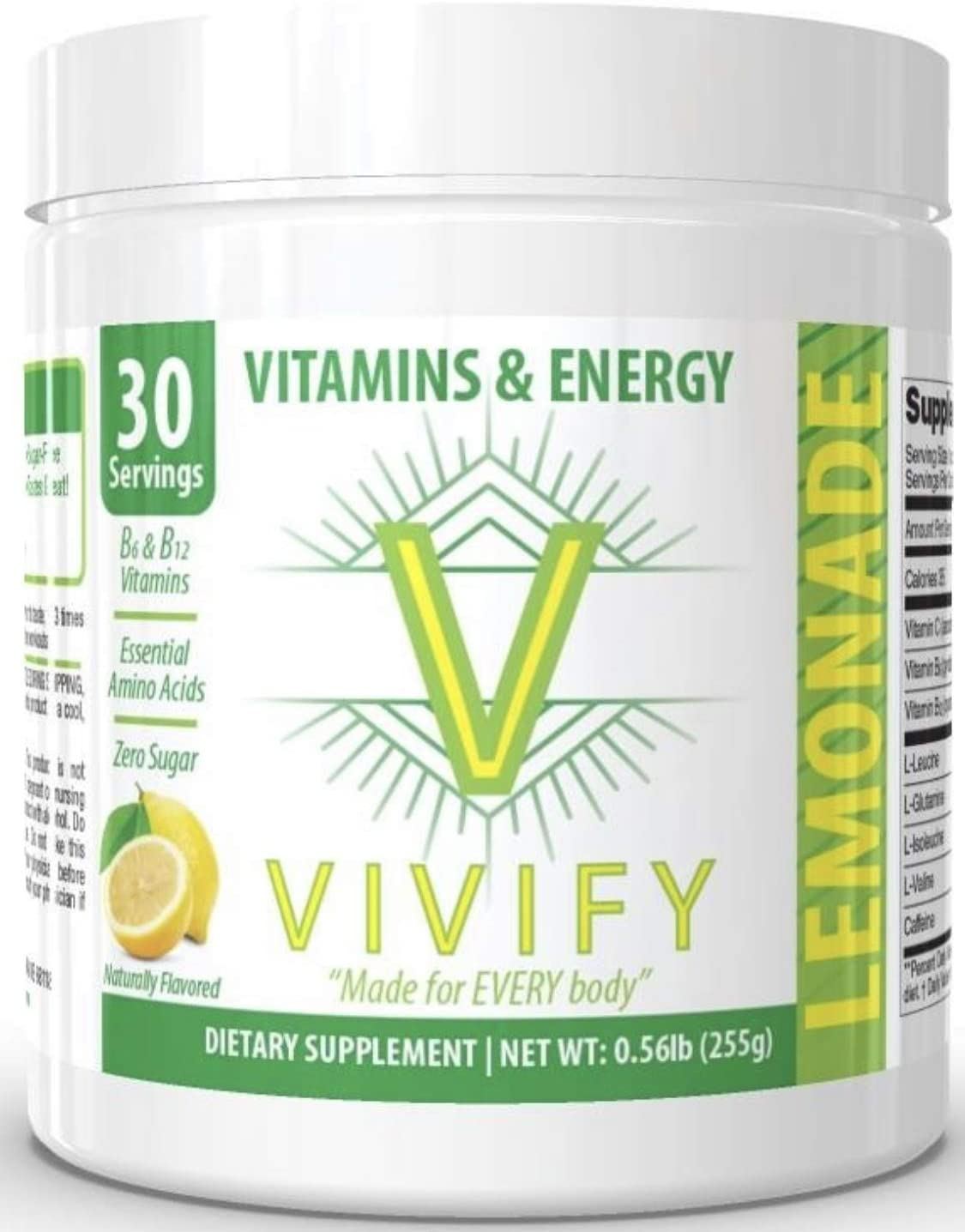 Vivify All-Day Energy Vitamin and Amino Powder, Top-Rated Preworkout Energizer for Women and Men, 5 g BCAA s, L-Glutamine. Natural Lemon Flavor. Zero Sugar. 30 Servings.