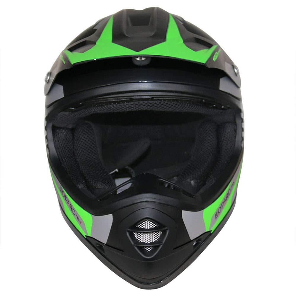 ECE Genehmigt Crosshelm Kinderquad Off Road Enduro Sport Handschuhe Leopard LEO-X19 Kinder Motocross MX Helm { Motorradhelm Brille} Orange M 51-52cm