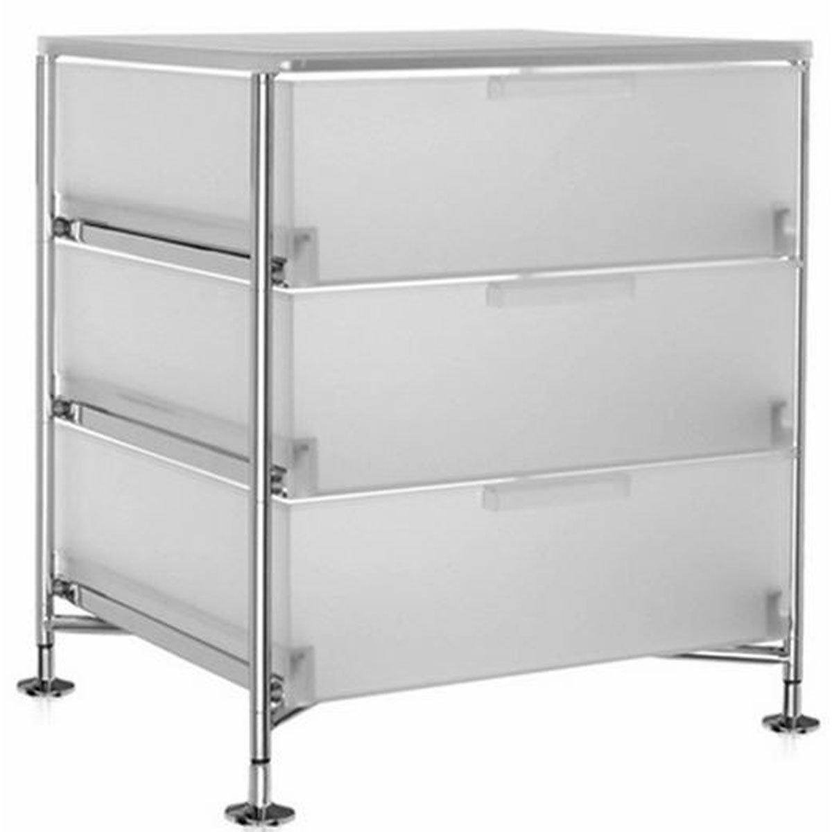 Kartell 2330L1 Container Mobil, 3 Schubladen, eisfarben