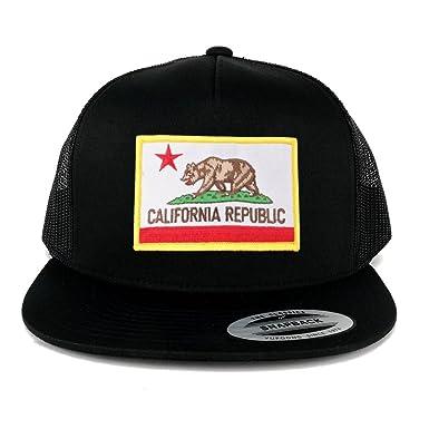 7d54dfa645bac1 FLEXFIT 5 Panel California Republic Embroidered Patch Snapback Mesh Trucker  Cap - BLACK at Amazon Men's Clothing store: