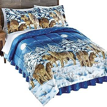 Amazon Com Howling Wolves Blue Comforter Set Amp Sheets