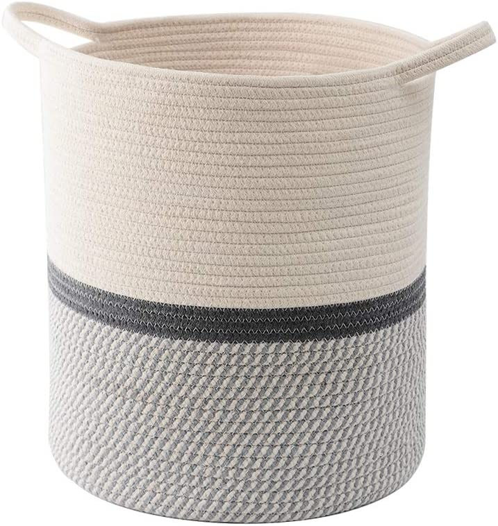 "Hlryudo Large Cotton Rope Basket 13.8"" x 13.8"" x 15.7"" Baby Laundry Basket, Woven Storage Baskets, Nursery Hamper with Handle (Grey)"