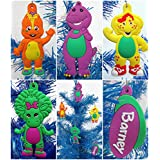 """Barney and Friends Unique Christmas Tree Ornament Set Featuring Shatterproof Ornaments Around 3"""" Tall"""