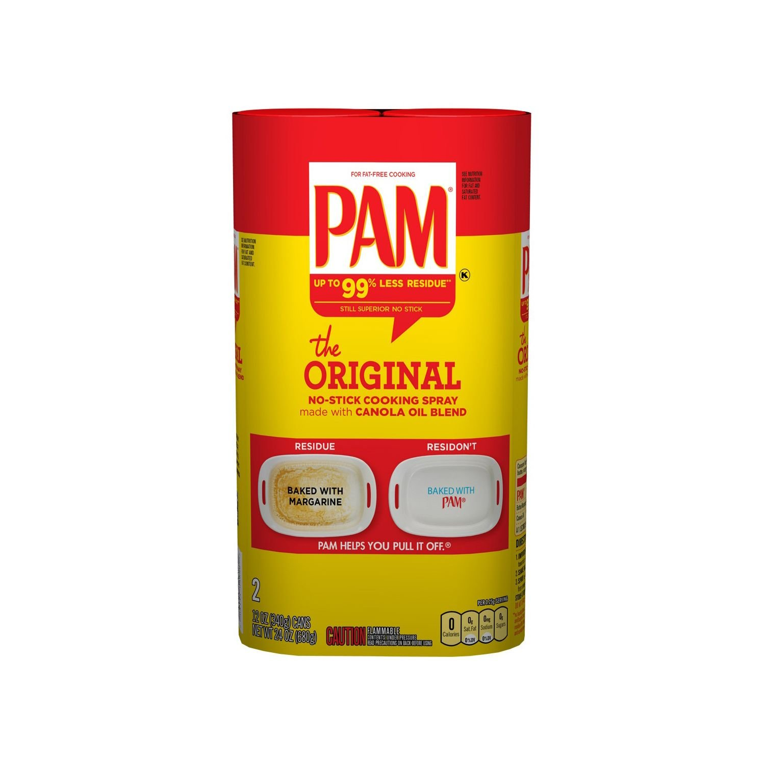 Pam Original No-Stick Cooking Spray 100% natural Canola Oil ,SIX (6) pack - 12oz each can by PAM (Image #1)