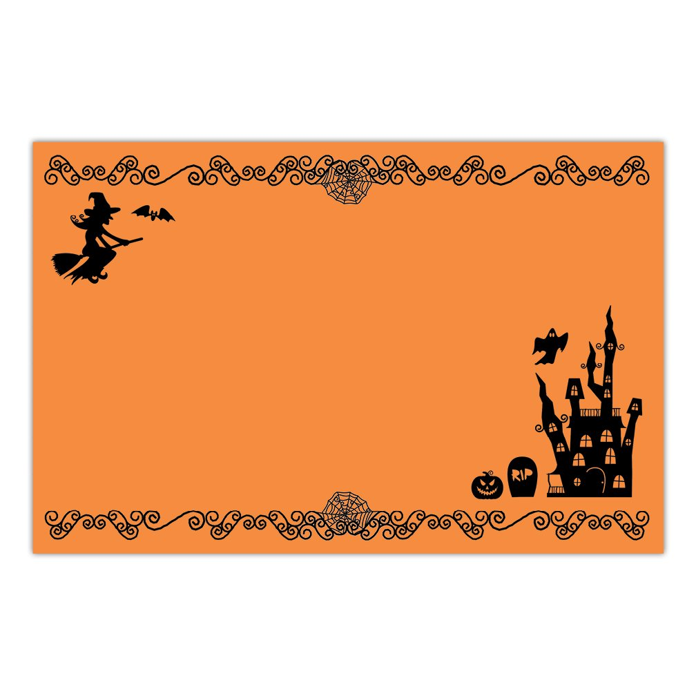 DB Party Studio Paper Placemats Pack of 25 Halloween Parties Adult or Child Classic Spooky Haunted House Teen Kids Costume School Party Lunch Dinner Disposable Easy Cleanup 17'' x 11'' Table Place Mats