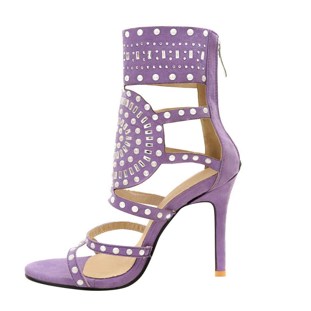 Orangeskycn Women High Heel Sandals Plus Size Fashion Rivet Back Zipper High Heel Open Toe Ankle Beach Shoes Sandals Purple