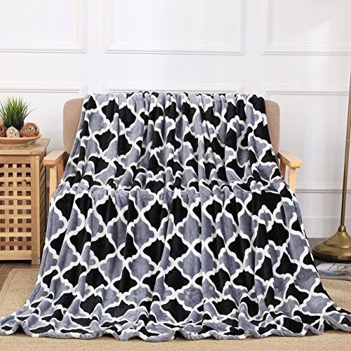 All American Collection New Super Soft Printed Throw Blanket (Throw Size, Black/Grey Trellis)