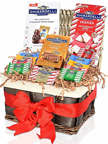 Christmas Gift Basket Ghirardelli 42-pc – Caramel, Sea Salt, Dark Chocolates, Peppermint and Milk Cholates Barks – Perfect Christmas Gift Christmas Gift Baskets