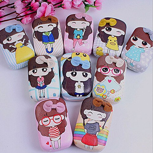 1 pcs Small Girl Pattern Contact Lens Case Box Kit Set With Small Mirror OFFICE-123