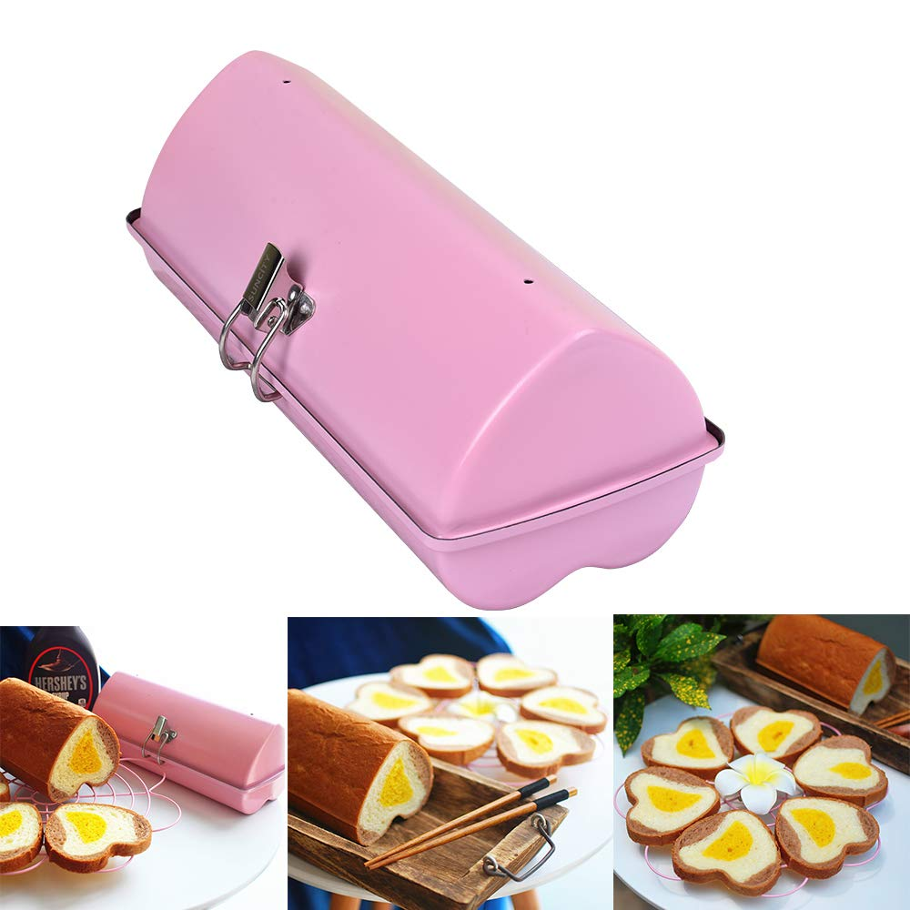 Loaf Pan for Baking with Lid 10x5 1lb Bread Pan Millennial Pink Round Nonstick Stainless Steel Instant Pot Dishwasher Safe