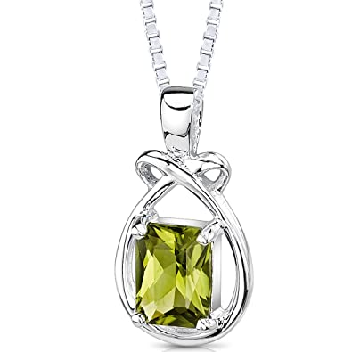 03074710b Amazon.com: 1.50 Carats Genuine Emerald Cut Peridot Sterling Silver Pendant  Necklace: Jewelry: Jewelry