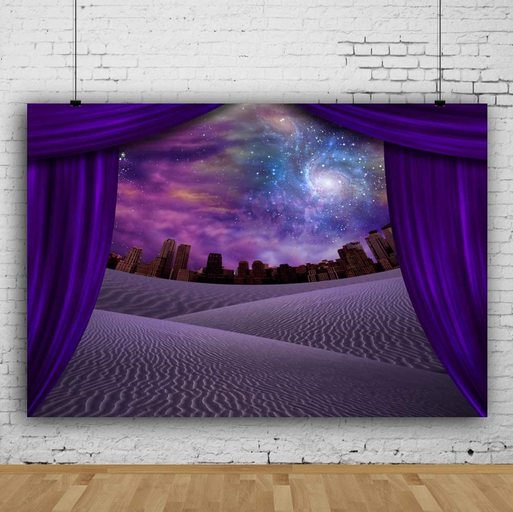 Leyiyi Mysterious Scenery Backdrop 15x10ft Photography Backdrop Sand Beach Modern Buildings Children Baby Adults Personal Portraits Studio Props Magic Show Circus Act Backdrop